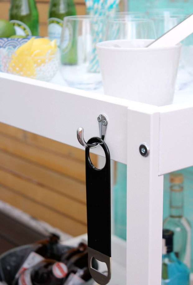 DIY Outdoor Bart Cart with Bottle Opener Hook - Satori Design for Living