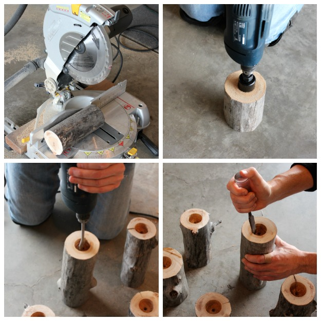 How to Make Log Tea Light Holders - Satori Design for Living