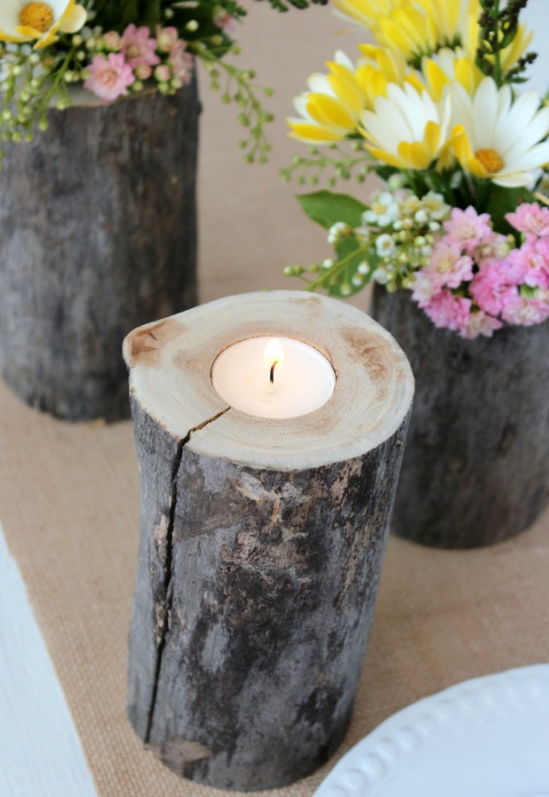 DIY Log Tea Light Holder and Vases for a Country Garden Party - Satori Design for Living