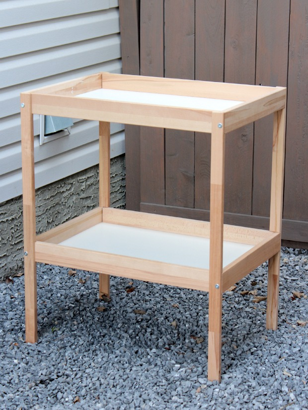 IKEA Sniglar Baby Change Table Hack to Outdoor Bar Cart - Get the full details at SatoriDesignforLiving.com