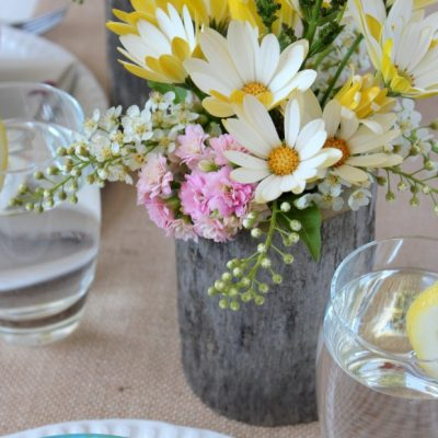 Country Garden Party Table Centerpieces - DIY Log Vases | Satori Design for Living