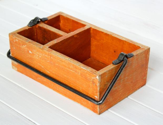 Orange Vintage Tool Caddy - Come see how I transformed it in to an herb planter - Satori Design for Living
