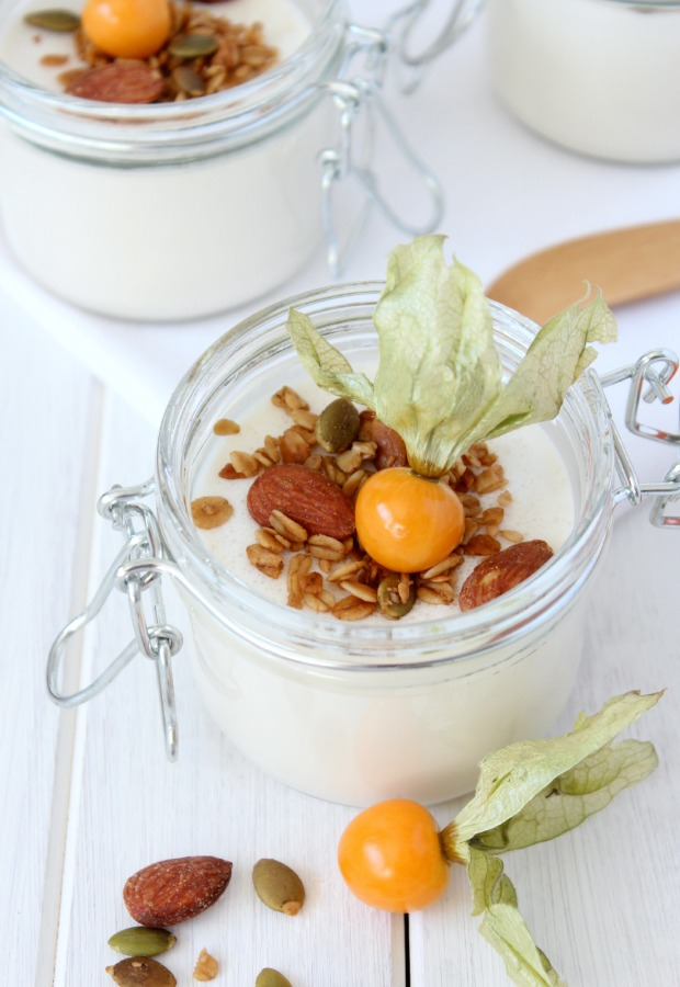 Yogurt Panna Cotta with Crunchy Maple Topping