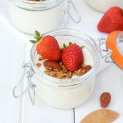 Greek Yogurt Panna Cotta with Crunchy Maple Topping- Perfect for summer brunches!