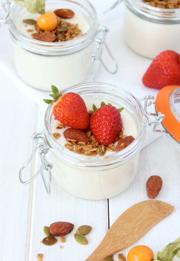Greek Yogurt Panna Cotta with Crunchy Maple Topping and Fresh Fruit in a Jar