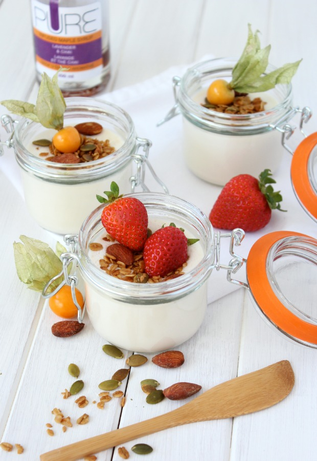 Lavender and Chai Greek Yogurt Panna Cotta with Crunchy Maple Topping- Brunch Recipe - Satori Design for Living