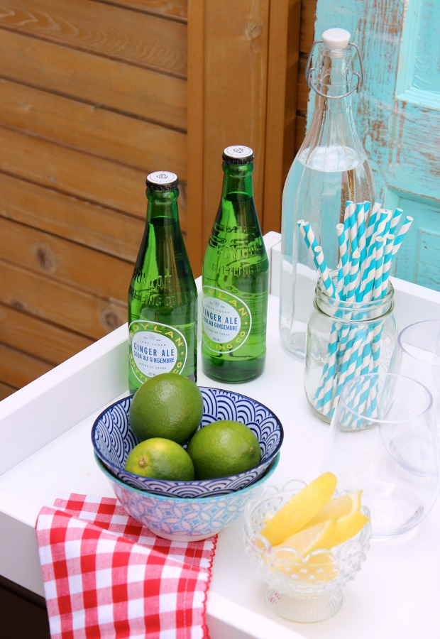 Come see how to transform an Ikea baby change table in to a bar cart for summer entertaining!