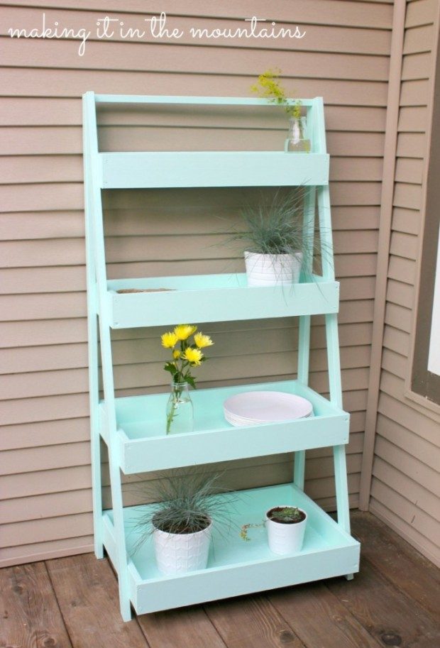 Decorating Outdoor Spaces - DIY Outdoor Ladder Shelf by Making it in the Mountains