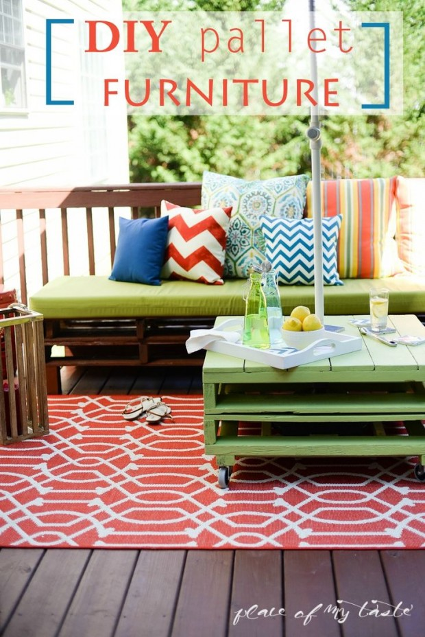 Decorating Outdoor Spaces on a Budget - DIY Outdoor Pallet Furniture by Place of My Taste