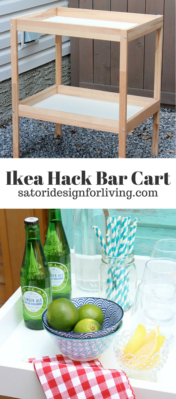 IKEA Hack Bar Cart - Come see how to transform this thrifted Ikea Sniglar changing table in to a bar cart for outdoor entertaining for less than $45 - Satori Design for Living