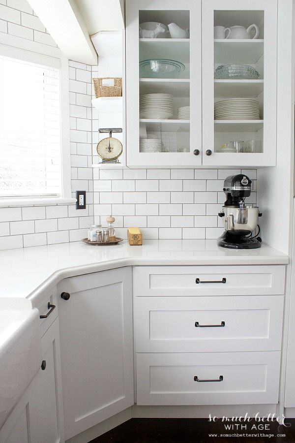 White Subway Tile Backsplash in the Kitchen - So Much Better with Age