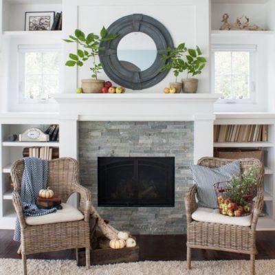 Our living room renovation is underway. Come check out the progress on our fireplace makeover, as well as beautiful inspiration pictures like this one from The Lily Pad Cottage!