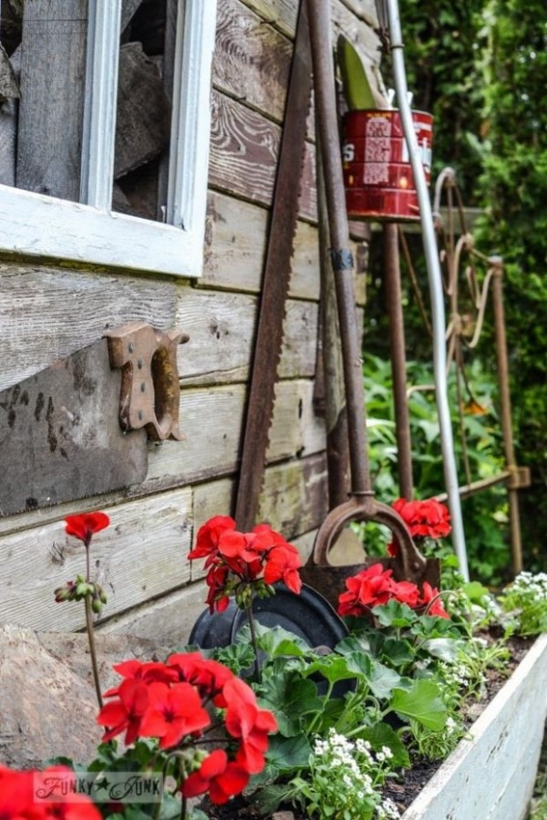 Red Geraniums in Wooden Planter - Funky Junk Interiors