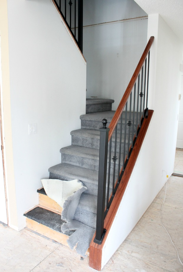 Staircase Makeover Progress - Removing old carpet on stairs - Satori Design for Living