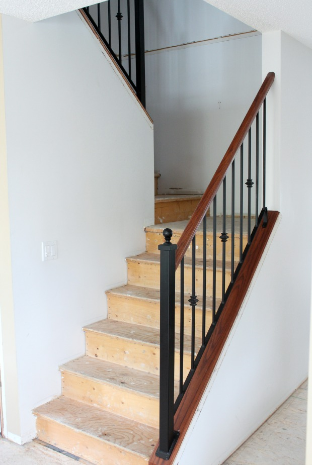 Carpet to Hardwood Staircase Makeover Progress - Satori Design for Living