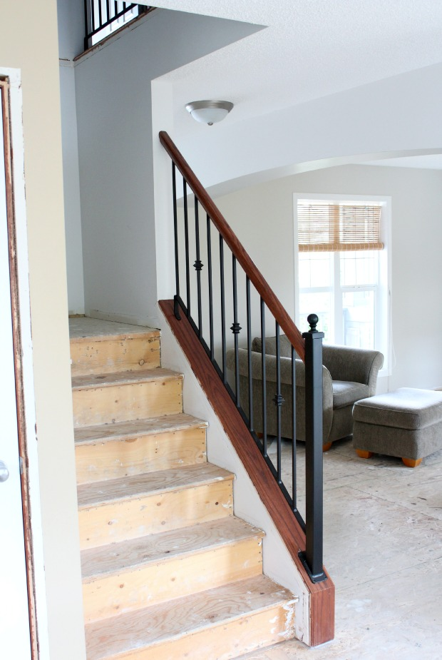 Staircase Makeover Progress - Removing Carpet and Adding Hardwood to Stairs