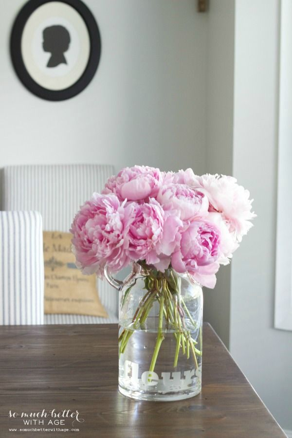 Summer Decorating Ideas - Peony Arrangement by So Much Better With Age