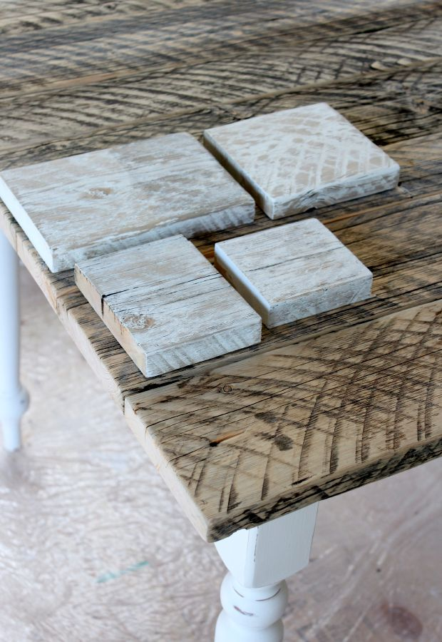 Distressed Whitewashed Wood Finish - How to add a white wash finish to reclaimed wood - Satori Design for Living
