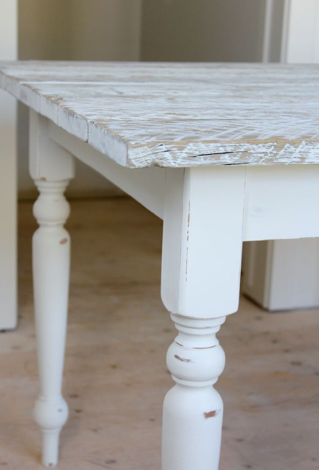 DIY White Washed Reclaimed Wood Farmhouse Table - How to white wash a wood table - Satori Design for Living