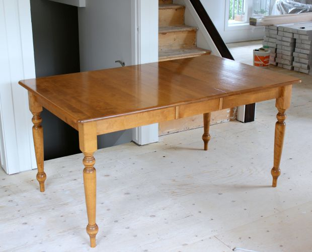 BEFORE- How to Build a Salvaged Wood Farmhouse Table Using an Existing Table, Plus Finishing Whitewash Steps - Details at SatoriDesignforLiving.com