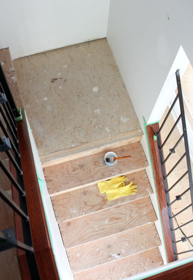 Carpet to Hardwood Staircase Makeover Update - Stripping and Staining the Wood - Satori Design for Living