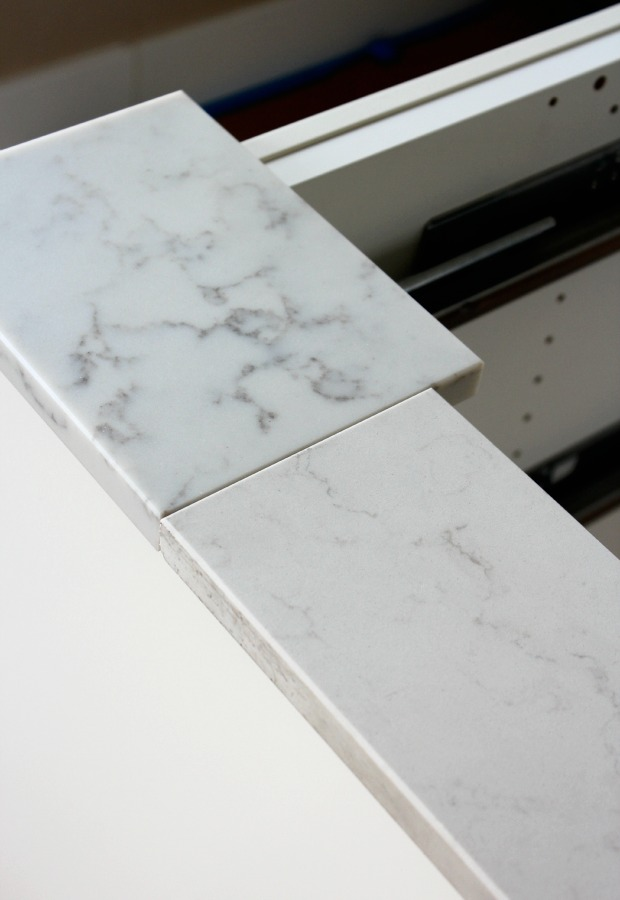 Kitchen renovation marble quartz countertop satori for Caesarstone cost per slab