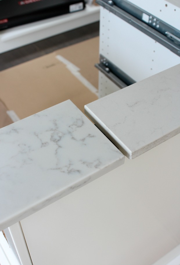 Marble Quartz Countertop Options for Our Kitchen - TCE Stone 4005 - Frosty Carrina by Caesarstone - Satori Design for Living