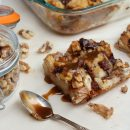 Chocolate Chunk Banana Bread Pudding Topped with Warm Buttered Rum Sauce - Satori Design for Living