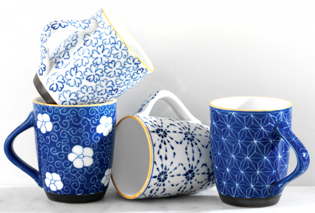 Blue Hand Painted Mugs from Servv - Gifts that Give Back - Gifts for the Coffee Lover Hand Picked by Satori Design for Living