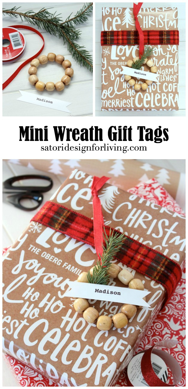Put together these easy and inexpensive mini wreath gift tags to embellish your gifts, plus discover more beautiful and personalized gift wrapping ideas for the Christmas season. Details at SatoriDesignforLiving.com