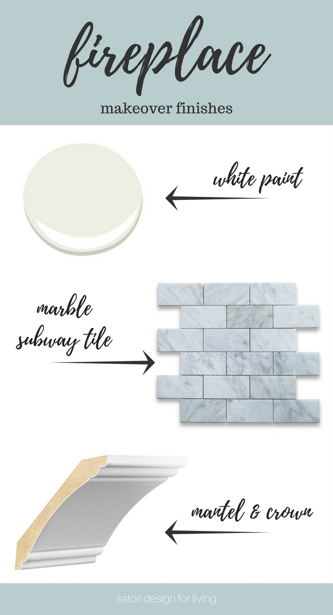 White and Marble Fireplace Makeover Details - White Dove Paint, Marble Subway Tile, Interior Finishings from Metrie