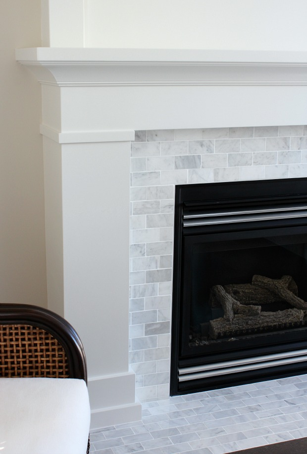 Gray Subway Tile Fireplace Surround