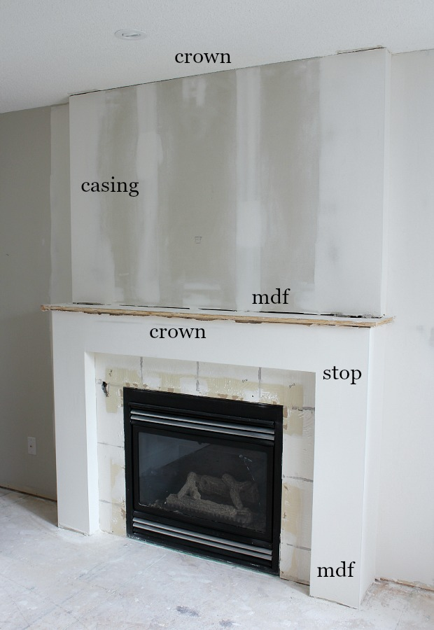 Fireplace Makeover Progress - Details of our white and marble fireplace - Adding trim and moulding to a fireplace to dress it up - Satori Design for Living