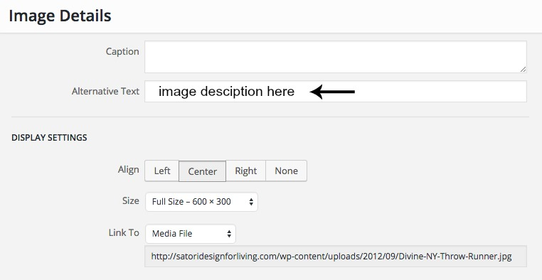 How to optimize images on WordPress - Image ALT tag box