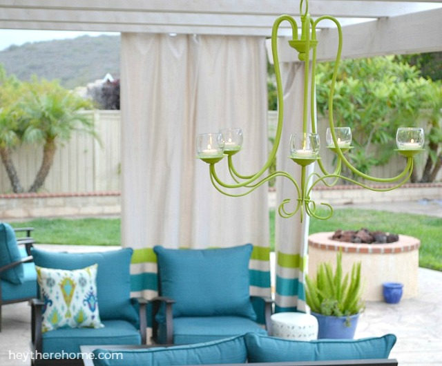 DIY Outdoor Chandelier - Patio Makeover by Hey There, Home