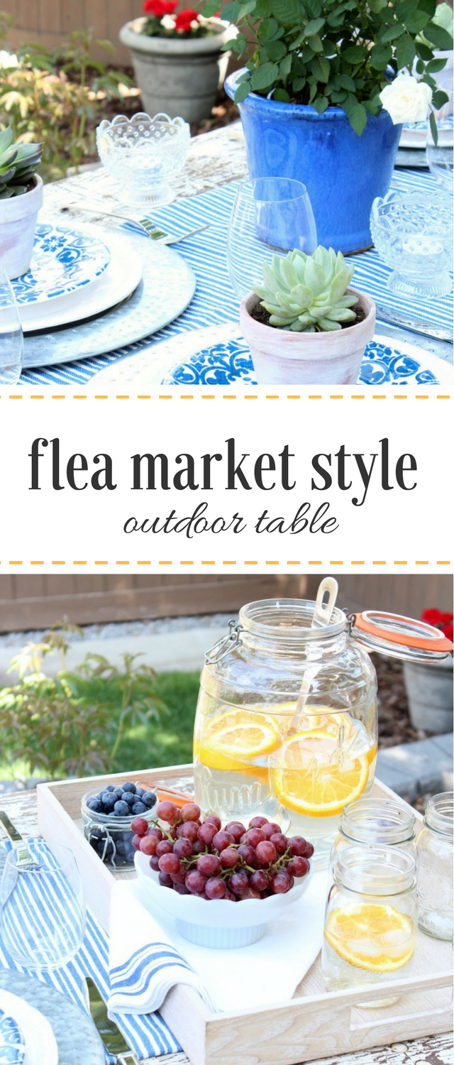 Ready for spring or summer entertaining? See how I created a flea market style outdoor table setting using salvaged, vintage and on-hand decor!