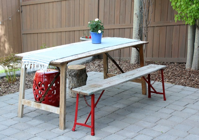 Vintage Outdoor Table and Bench with Red Legs and Weathered Wood - Satori Design for Living