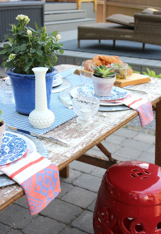 Flea Market Style Outdoor Table Setting - Eclectic Outdoor Decorating Ideas - Satori Design for Living