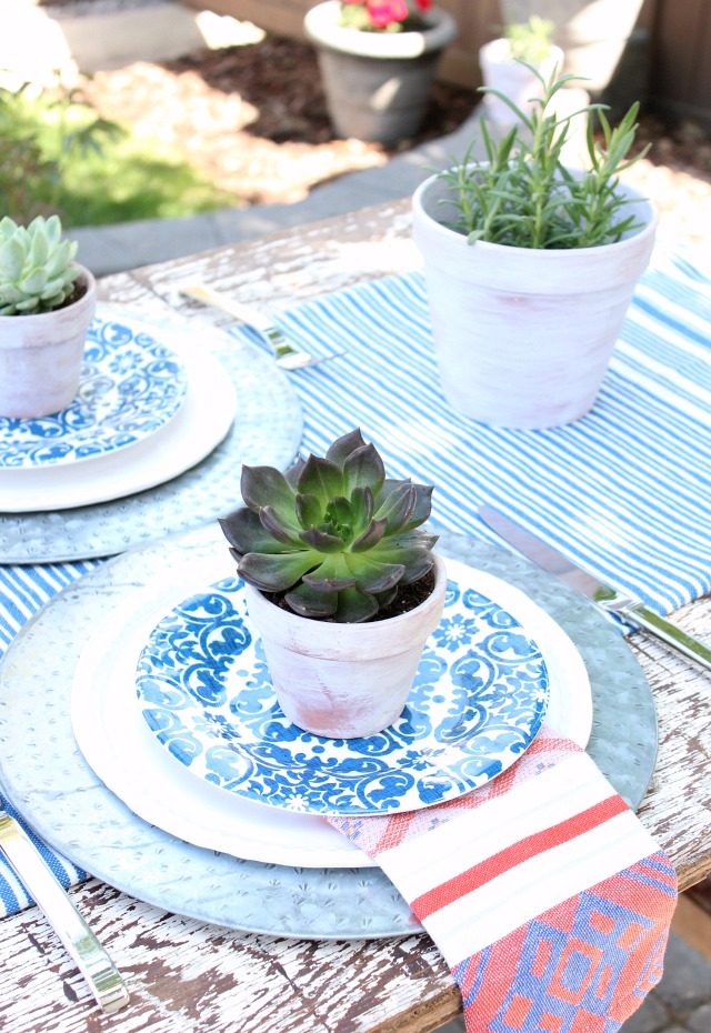 Flea Market Style Outdoor Table Setting - Mini Potted Succulents - Satori Design for Living