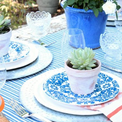 Flea Market Style Outdoor Table Setting - Vintage Outdoor Decorating Ideas - Satori Design for Living