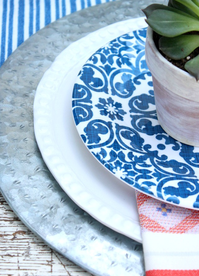 Flea Market Style Outdoor Table Setting - Red, White and Blue Place Setting - Satori Design for Living