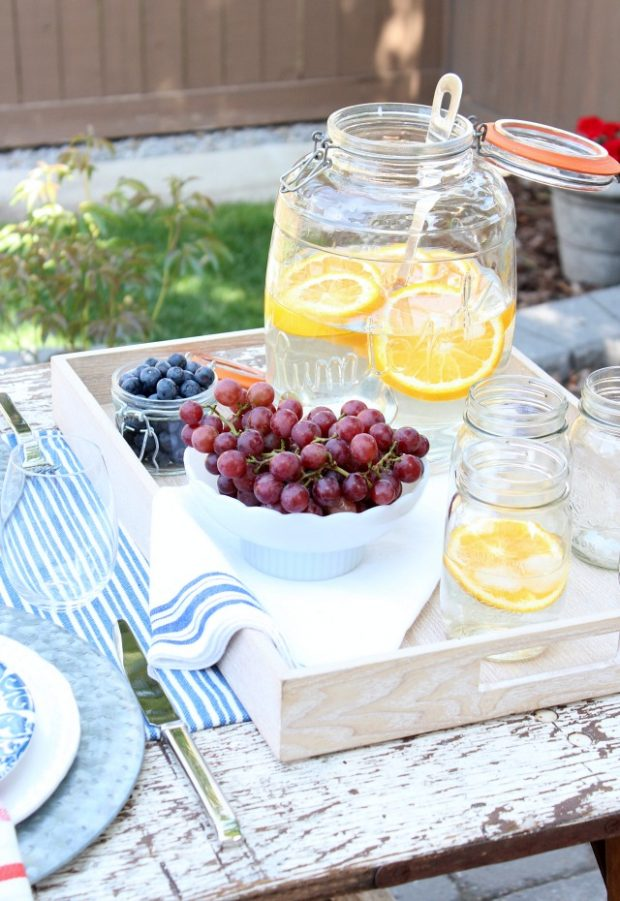 Flea Market Style Outdoor Table Setting - Oversized Jar with Orange Infused Water - Summer Outdoor Entertaining Ideas - Satori Design for Living