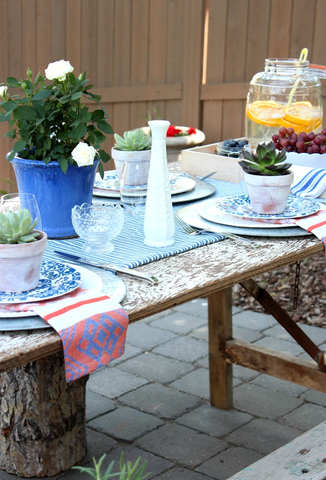 Flea Market Style Outdoor Table Setting - Outdoor Decorating Ideas with Vintage Boho Vibe - Satori Design for Living