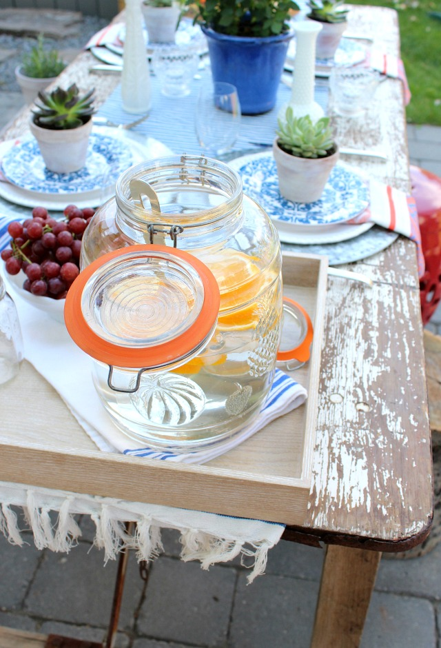 Flea Market Style Outdoor Table Setting - Summer Outdoor Entertaining Ideas - Setting a Rustic Table for Brunch Outdoors - Satori Design for Living
