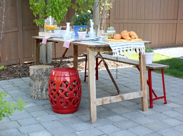 Flea Market Style Outdoor Table Setting - Vintage Boho Outdoor Decorating Ideas - Satori Design for Living