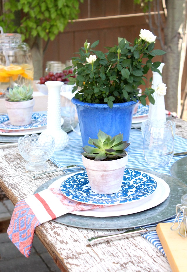 Flea Market Style Outdoor Table Setting - Decorating with Potted Succulents and Roses - Satori Design for Living