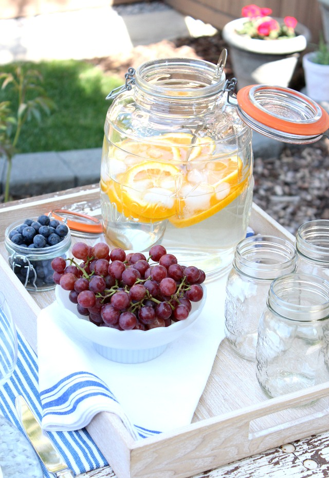 Flea Market Style Outdoor Table Setting - Outdoor Entertaining Ideas - Beverage Jar with Infused Water - Satori Design for Living