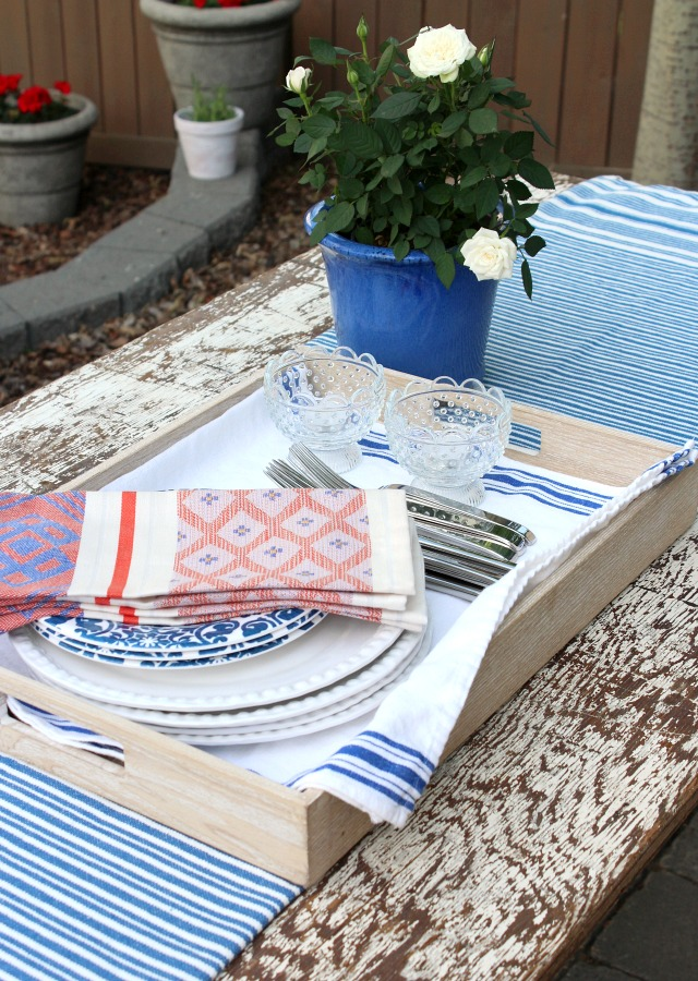 Flea Market Style Outdoor Table Setting - Outdoor Decorating & Entertaining Tips - Satori Design for Living
