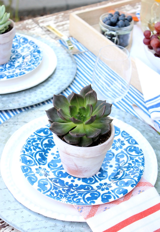 Succulents in Aged Terracotta Pots - Flea Market Style Outdoor Table Setting - Satori Design for Living