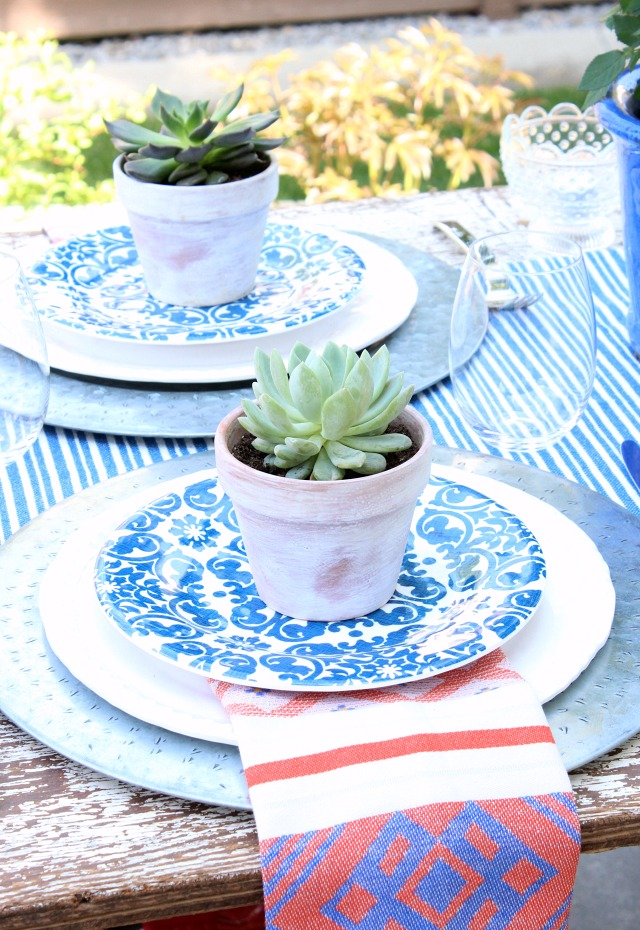 Outdoor Table Setting with Potted Succulents - Satori Design for Living
